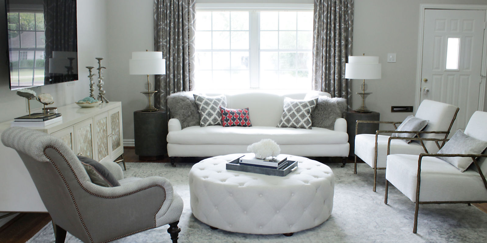 before after an elegant budget friendly living room makeover