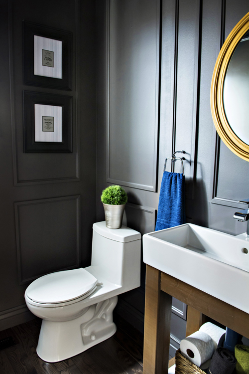 Before After A Blah Powder Room Gets A Moody Makeover