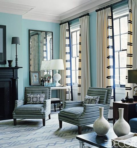 12 window treatment ideas designer curtains and shades for Living room ideas blue curtains