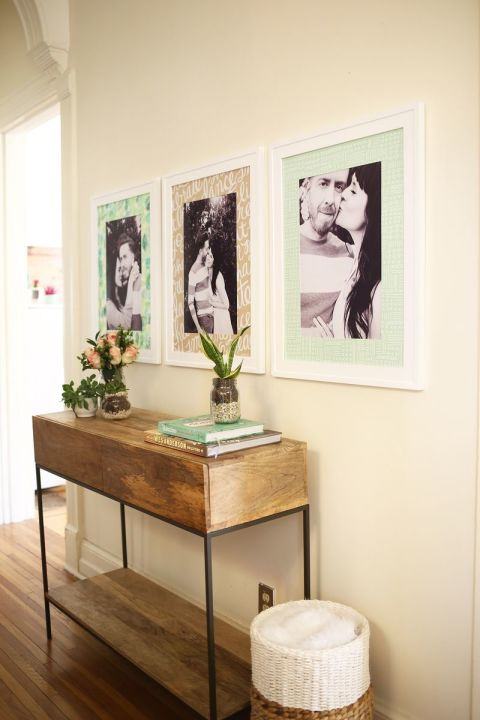 There are so many decisions that go into displaying your photos, but this one is easy: Skip the plain white mats and go for some color. Bloggers Elsie Larson and Emma Chapman of A Beautiful Mess cover their photo mats in beautiful wrapping paper or custom print paper for a fresh, new look. Get the cut-by-cut directions for the ones shown, here.