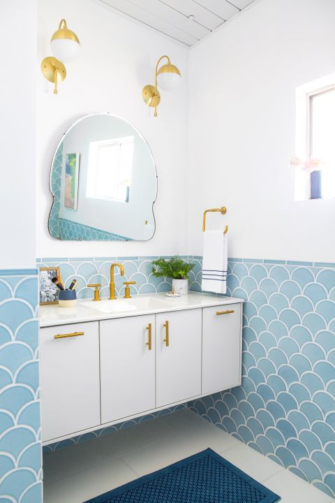 20 small bathroom ideas small bathroom ideas and designs for Blue and gold bathroom ideas