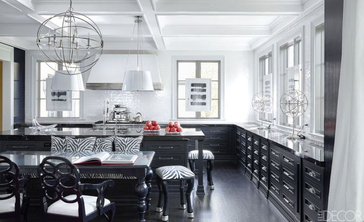20 black and white kitchen design decor ideas for Black and white kitchens photos