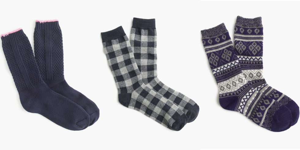 When the cold weather kicks in, your tile floors practically become blocks of ice. Keep your toes toasty with thick (and playfully patterned!) socks. Pictured here: Textured and printed socks, $16.50 a pair; jcrew.com