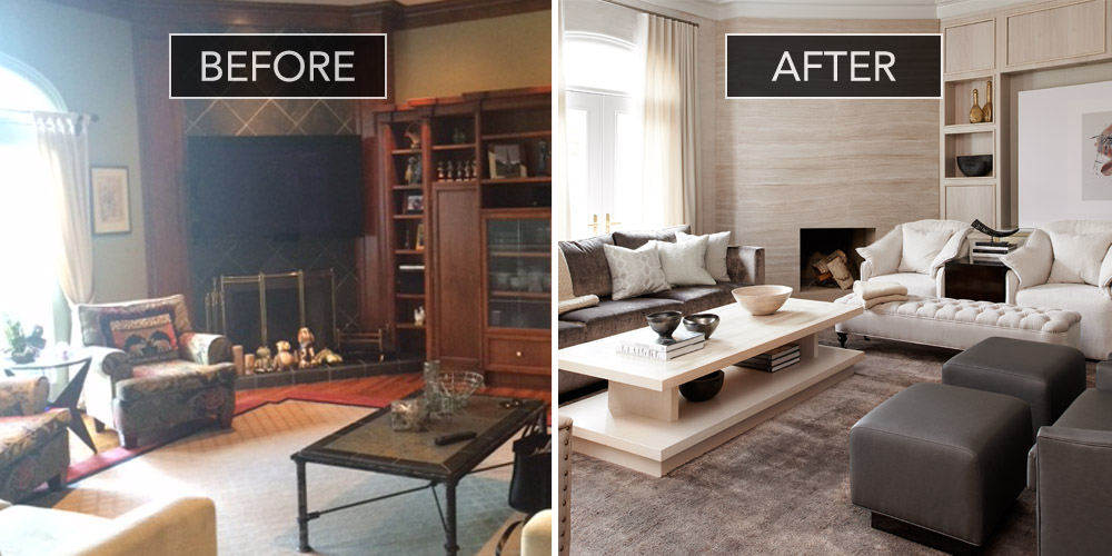 Family room before and after family room design ideas - Living room renovation before and after ...
