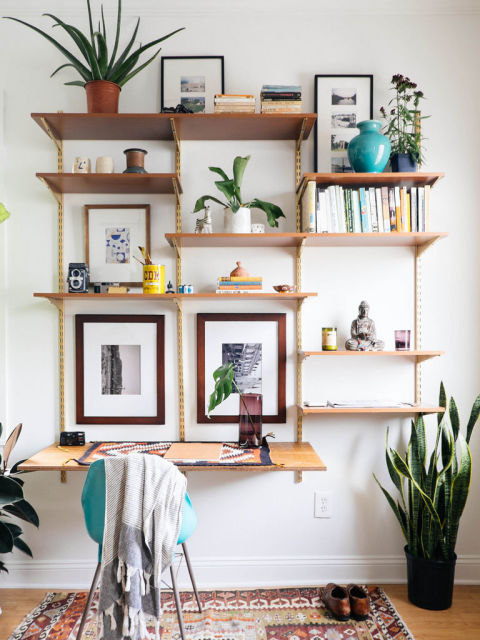 Turn your bookcase to the side and pull up a chair. Voila! Instant office! Get the look here.