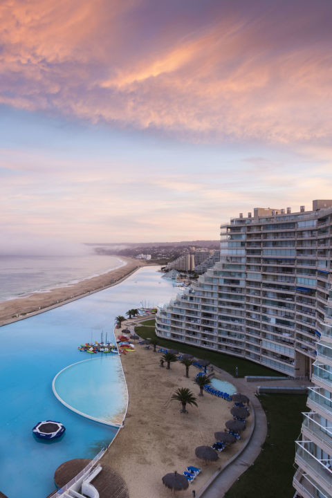 Just south of Valparaiso, the  San Alfonso del Mar resort is home to one of the world's largest saltwater swimming pools stretching over 3,000 feet along the Pacific coast.