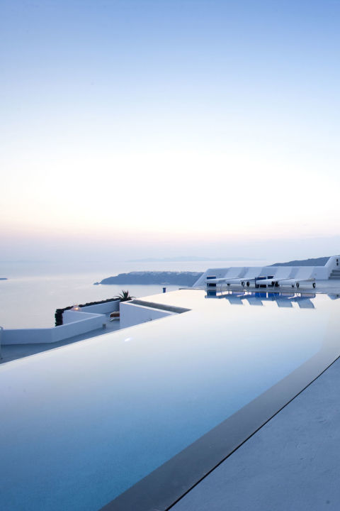 Located over a thousand feet above sea level, the infinity pool at the Grace Santorini provides stunning views of the Aegean Sea and is the spot to take in the sunset on Santorini.
