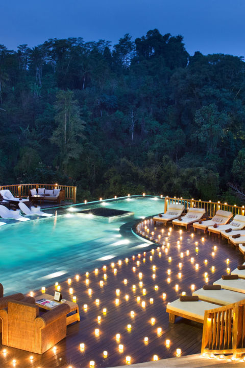 The tiered infinity pools at the Hanging Gardens of Bali—located north of Ubud—give swimmers the feeling that they are floating high above the rainforest.