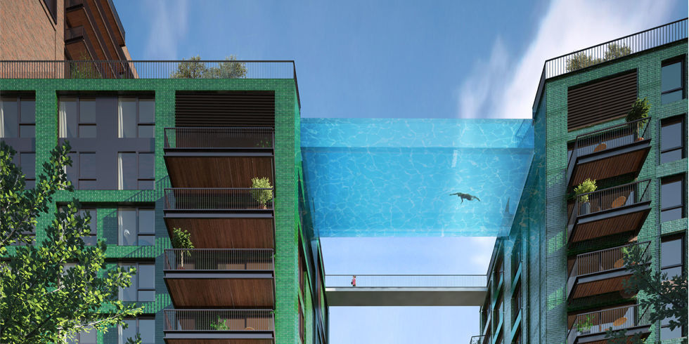 A South London apartment complex is building the first-ever Sky Pool, made of eight-inch-thick glass and suspended 10-stories above ground. At 90-feet-long it will bridge two apartment buildings together  — that's certainly one way to travel to your neighbor's to borrow a cup of sugar.