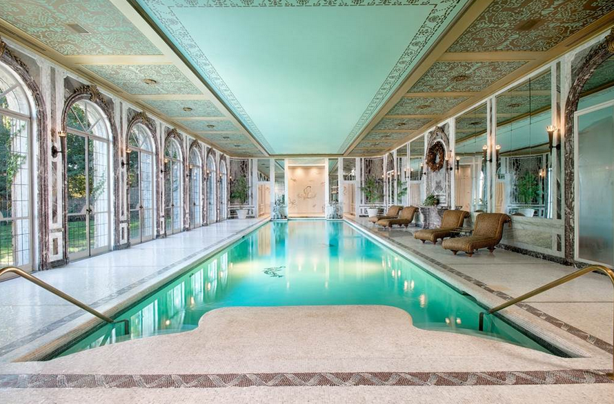 $75 million may sound like an absurd amount of money to spend on a home, but when it's as stunning as this home that sits on 262 acres of land between New York and Connecticut it doesn't actually seem too crazy. And thanks to its indoor pool that looks like it comes straight out of a luxurious private spa, this estate is on the fast track to dream home status.
