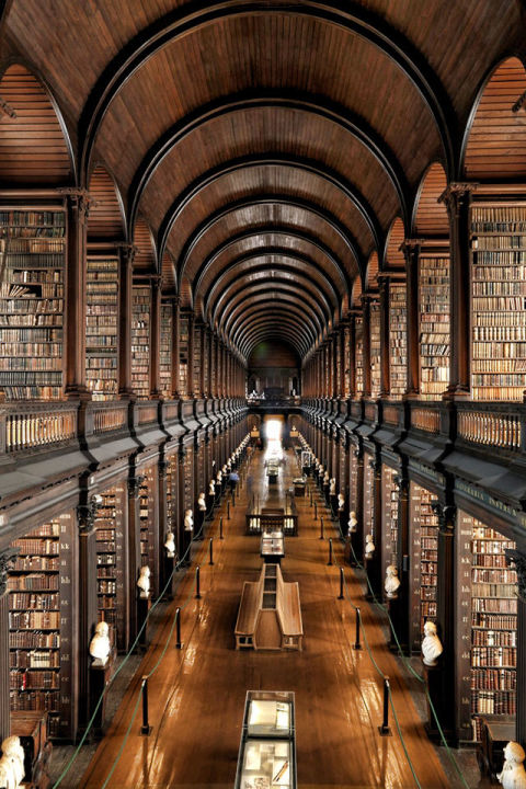 Located in Dublin, Trinity College Library is the largest library in Ireland.  The main room, known as the Long Room, was built in 1712 and is over 200 feet long. The hall holds 200,000 of the oldest books in the library.
