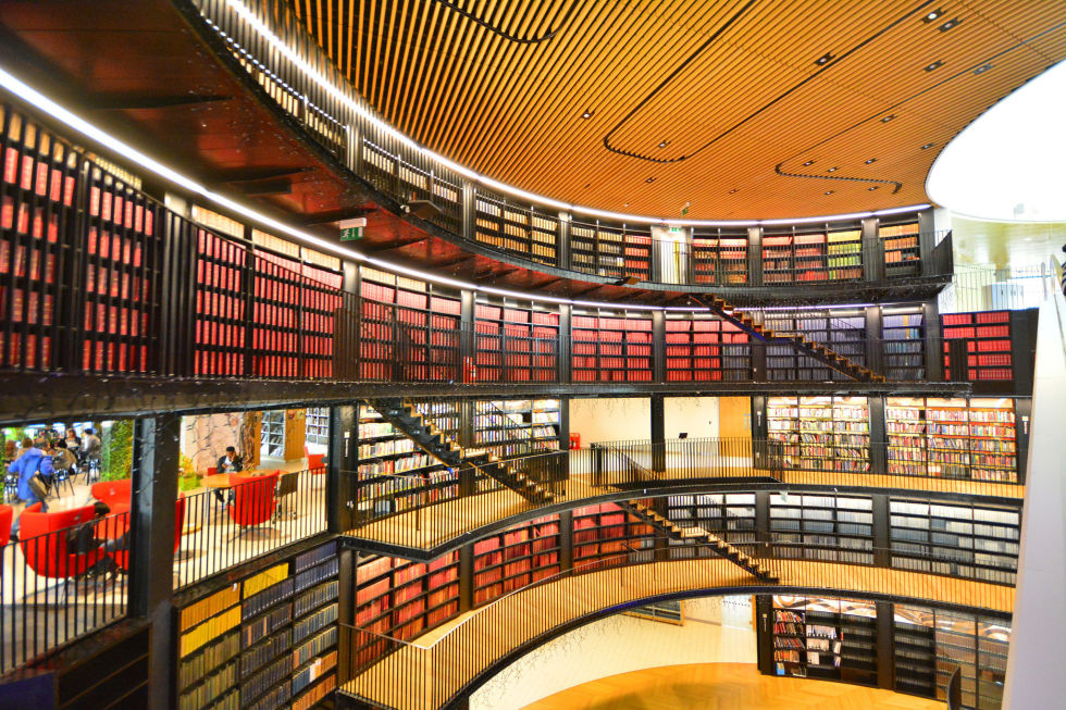 The Library of Birmingham in the United Kingdom, opened just three years ago, but has already amassed such a large annual number of visitors that it was ranked the 11th most visited place in the UK, according to the Association of Leading Visitor Attractions. Its post-modern architecture can be seen in both the interior and exterior of the building's design.