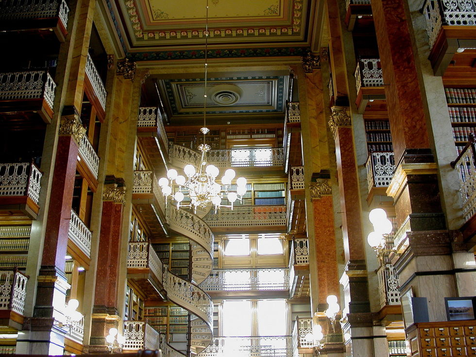 The Iowa State Law Library is located in the state's capitol building in Des Moines. The four-story library is famous for its lace-like balconies and winding stairs, which line the perimeter of the building. The original gas fixtures from the early 20th century light the space, although they are now rewired to use electricity.