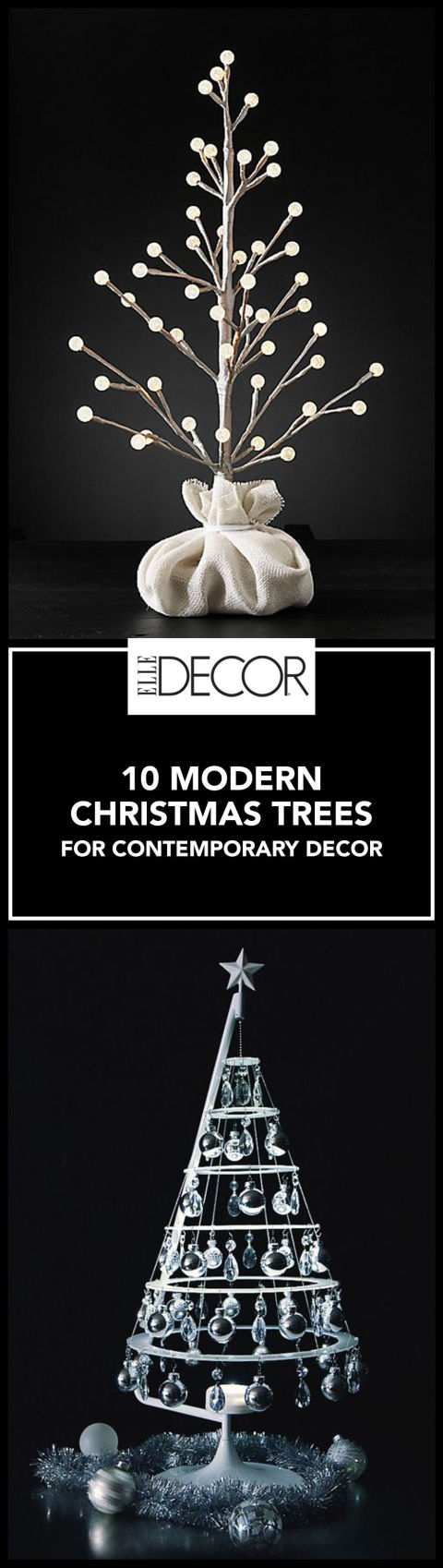 10 modern christmas trees for holiday decorations for Elle decor christmas tree