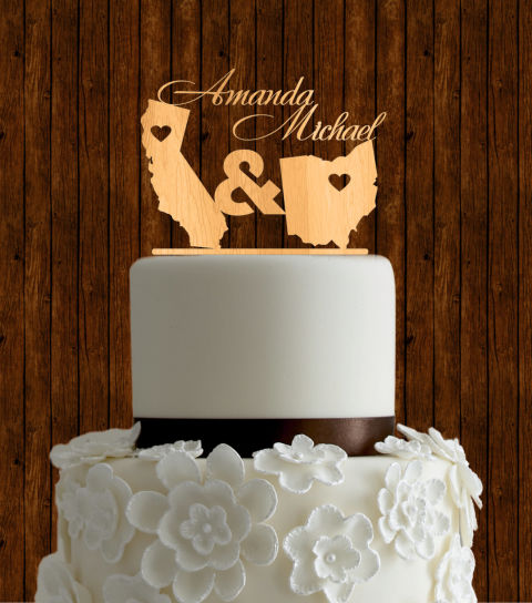 Cool Etsy Wooden Wedding Cake Toppers