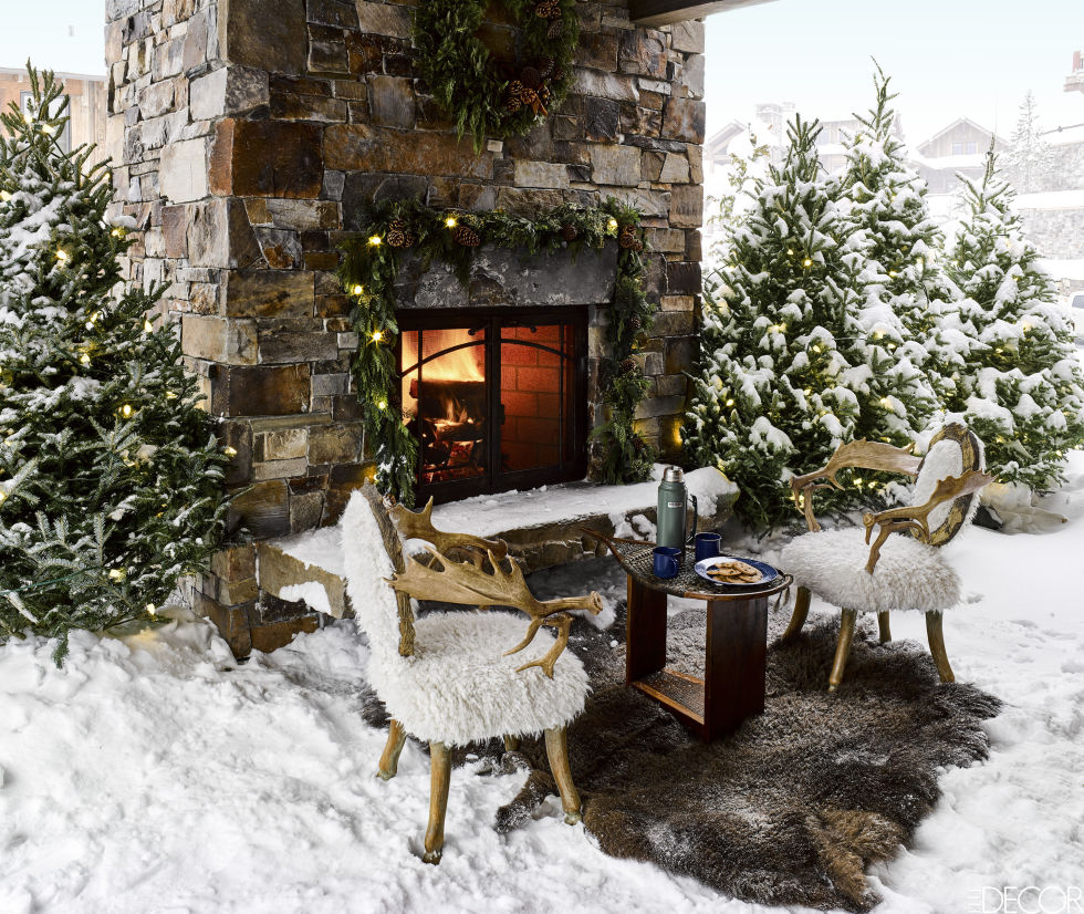 montana christmas home snowy outdoor fireplace
