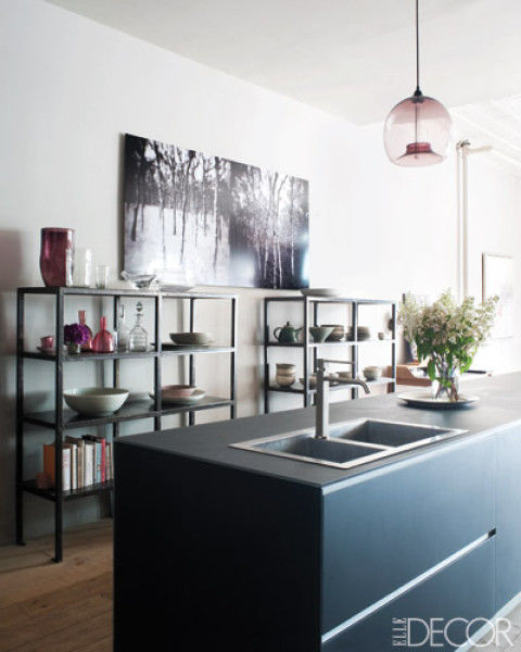 modern design shows its dark side with a sleek black valcucine island in this chic manhattan