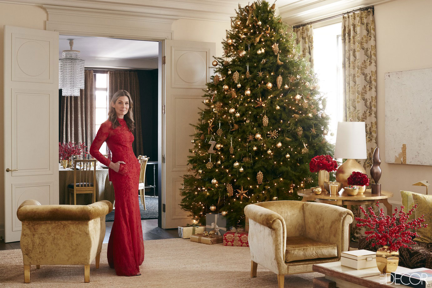 Aerin lauder manhattan home holiday entertaining secrets for Beautiful homes decorated for christmas