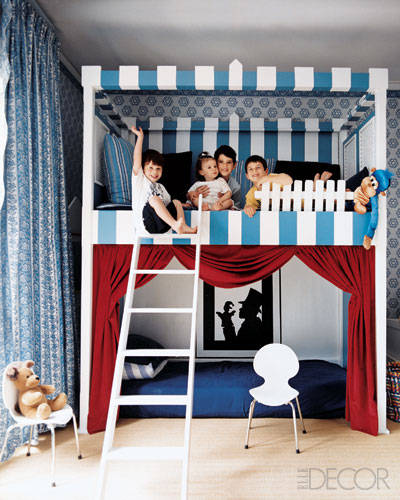 The bunk beds in this Manhattan townhouse come in the form of a puppet theater designed by one of the boys, with the help of decorators Carol Egan and Wayne Nathan; the Ant chairs are by Arne Jacobsen.