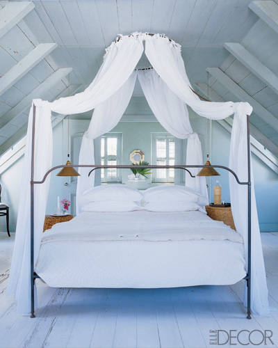 """The bedroom should be a soothing place for a couple,"" says designer Eric Cohler. ""No cell phones, no Blackberry, no TV, no computer."" The airy master bedroom in Tom Scheerer's cottage in the Bahamas features an eight-foot canopy."