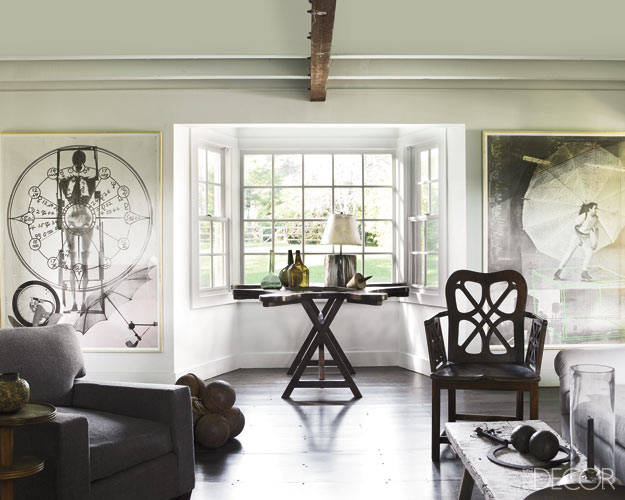 "Robert Rauschenberg prints and an 18th-century English chair in the Bridgehampton, New York, living room  of interior designer James ""Ford"" Huniford."