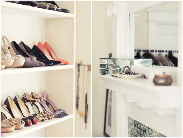 Sometimes closet space just doesn't allow for a full shoe collection. On The Glitter Guide, bookshelves save the day as a display for shoes.
