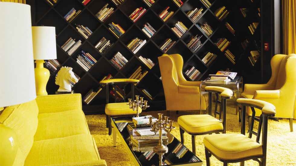 Kelly Wearstler not only designed, but also curated, the Viceroy Santa Monica's cheery yellow library. The collection features more than 2,000 books about art and culture.