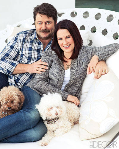 Photo of Nick Offerman & his  Dog Willa & Elmo