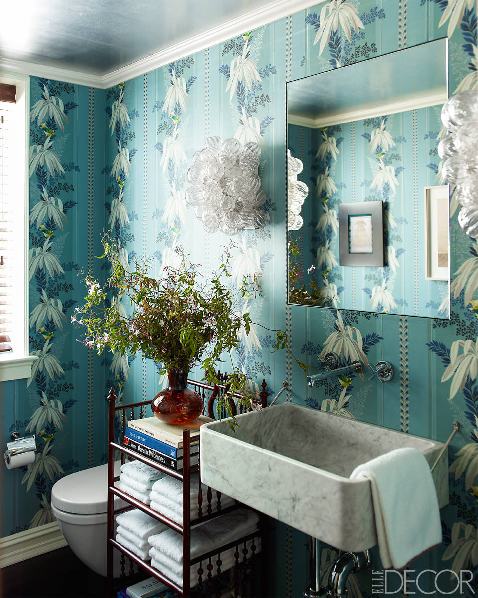 15 bathroom wallpaper ideas wall coverings for bathrooms for Elle decor best dining rooms